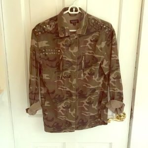 Camo Snapfront Jacket with Studs